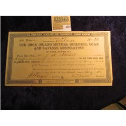 1316 _ April 1st, 1892 Stock Certificate for 40 Shares of The Rock Island Mutual Building, Loan and