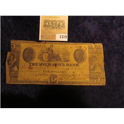 "1319 _ 1853 $5 Broken Banknote from ""The Mechanics Bank Augusta, Georgia"", woman seated in central v"