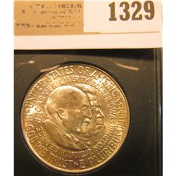 1329 _ 1954 P Washington/Carver Silver Commemorative Half-Dollar, BU. In a plastic slab, but not gra