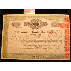 "1332 _ June 1919 ""The Davenport Morris Plan Company davenport, Iowa"" Stock certificate No. 64 for Fi"