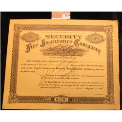 "1334 _ 1923/4 Stock Certificate No. 639 for Four Shares of ""Security Fire Insurance Company Davenpor"