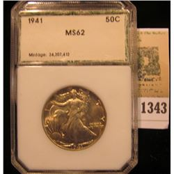 1343 _ 1941 P Walking Liberty Half Dollar, PCI MS62 slabbed.