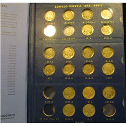 1377 _ 1914-38 Partial set of Buffalo Nickels in a deluxe Whitman Album. A lot of nice coins remain