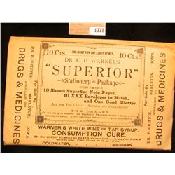 1378 _ Quack Doctor advertising Stationery Package contains 10 Sheets Superfine Note Paper, 10 XXX E