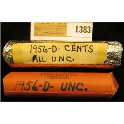 1383 _ (2) 1956 D Lincoln Cent Solid date Roll, BU. One is foil wrapped.