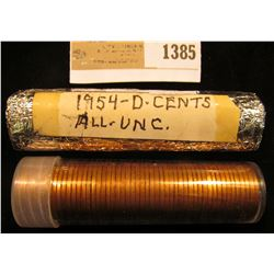 1385 _ 1954 D & 1969 S Solid date Lincoln Cent Rolls, BU. One is foil wrapped.