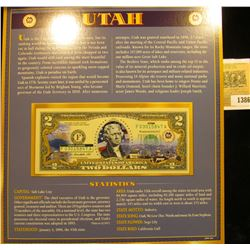1386 _ South Carolina & Utah Series 2009 $2.00 Federal Reserve Banknotes, both colorized and mounted