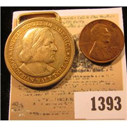 1393 _ Weird Magician's Coin Cent obverse and Roosevelt Dime reverse; & 1893 World's Columbian Expos