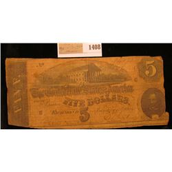 1408 _ Series 1864 Confederate States 5-Dollar Note. Good.