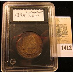 1412 _ 1893 Columbian Expo. Commemorative Half Dollar Toned AU in Holder.