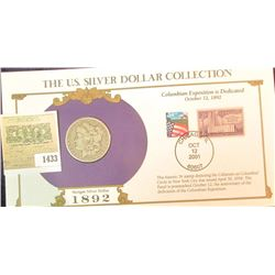 1433 _ 1892 Morgan Dollar first Day Cover.