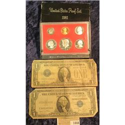 1444 _ 1981 S US Proof Set, Series 1928 A & 1935 D 1-Dollar Siler Certificates.