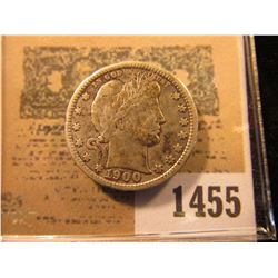 1455 _ 1900 P Barber Quarter, VF.