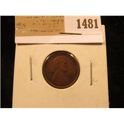 1481 _ 1909 P VDB Lincoln Cent, Red-Brown Almost Uncirculated++.