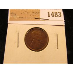 1483 _ 1909 P VDB Lincoln Cent, Brown Almost Uncirculated.