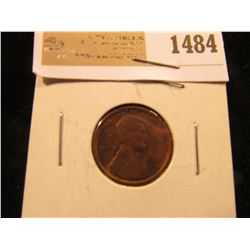 1484 _ 1909 P VDB Lincoln Cent, Brown Almost Uncirculated.