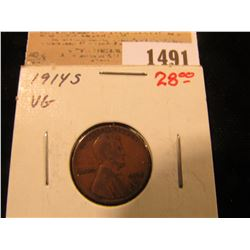 1491 _ 1914 S Lincoln Cent, VG.