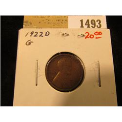 1493 _ 1922 D Lincoln Cent, Good.