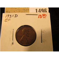 1496 _ 1931 D Lincoln Cent, EF.