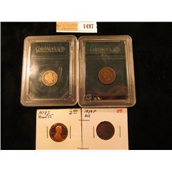 1497 _ 1903 Indian Cent & 1901 P Barber Dimne in Coin World Holders' 1939 P Lincoln Cent BU & 1978 S