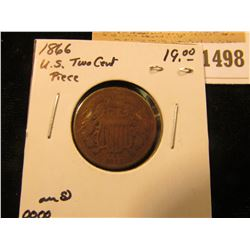 1498 _ 1866 U.S. Two Cent Piece, VG.
