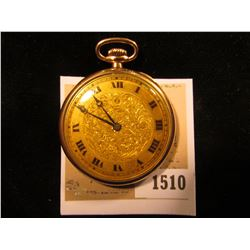 "1510 _ ""Watch Specialties Co."" 15 Jewel Open-face Gold-filled Pocket Watch, runs part of the time. D"