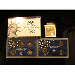 1511 _ 1999 S U.S. Proof Set, Original as issued. A nice attractive set with all coins exhibiting Ca