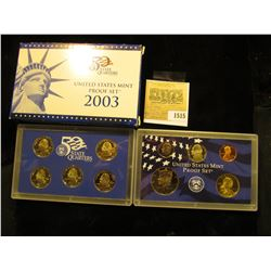 1515 _ 2003 S U.S. Proof Set, Original as issued. A nice attractive set with all coins exhibiting Ca