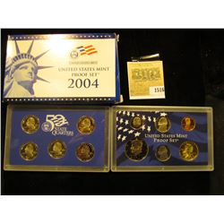1516 _ 2004 S U.S. Proof Set, Original as issued. A nice attractive set with all coins exhibiting Ca