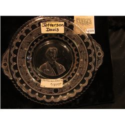 "1519 _ Civil War era 8 1/2"" Crystal Plate Picturing Jefferson Davis. No chips or cracks. Doc valued"