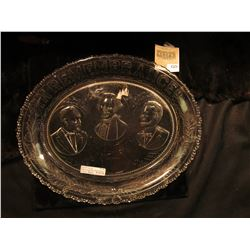 "1521 _ ""In Rememberance God Reigns First in Peace Charity For All"" Crystal plate depicting Garfield,"