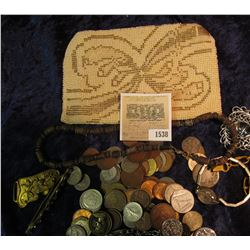 1538 _ Czechoslovakia Beaded & Zippered Purse containing old Antique Jewelry & various Foreign coins