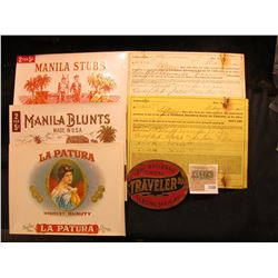 1550 _ (4) Attractive near mint condition Cigar Box labels & May 6, 1920 $75,000 Collateral U.S. Cer
