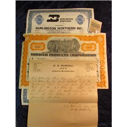 """1577 _ 1897 letter on letter head """"C.S. McKinley General Merch& ise""""; 100 Shares """"Tobacco Products C"""
