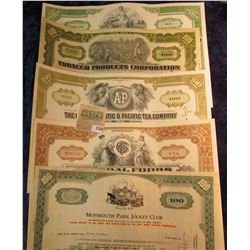 """1580 _ (5) Different Stock Certificates: """"Tobacco Products Corporation""""; """"The Gr & Union Company""""; """""""