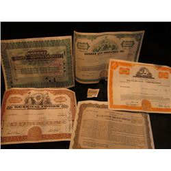 """1581 _ (5) Different Stock Certificates: """"Parrot Silver & Copper Company""""; """"General Foods Corporatio"""