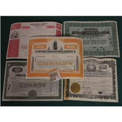"""1582 _ (5) Different Stock Certificates: """"Western Reserve Life Insurance Company""""; """"General American"""