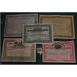 """1589 _ (5) Different Stock Certificates dating back as far as 1906 & including 100 Shares of """"North"""