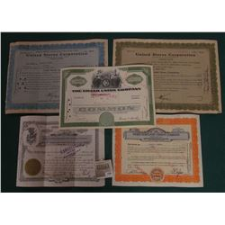 """1591 _ (5) Old Stock Certificates dating back to the crash in 1929. Includes """"United States Corporat"""