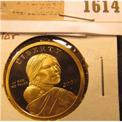 1614 _ 2007 S Proof 68 Native American Indian 'Golden' Dollar.