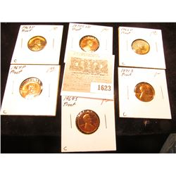 1623 _ 1962 P, 63 P 64 P, 69 S, 70 S LD, & 71 S U.S. Proof Lincoln Cents.