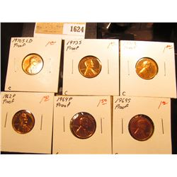1624 _ 1962 P, 64 P, 69 S, 70 S LD, 71 S, & 73 S U.S. Proof Lincoln Cents.