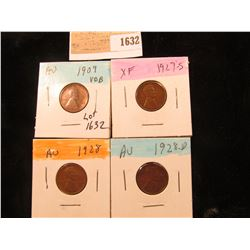 1632 _ 1909 P VDB, 27S, 28P & D Lincoln Cents, all Grading EF-AU.