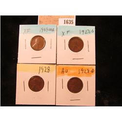 1635 _ 1909 P VDB, 27S, 28P & D Lincoln Cents, all Grading EF-AU.