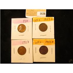 1636 _ 1910P, 27S, 28P & D Lincoln Cents, all Grading EF-AU.