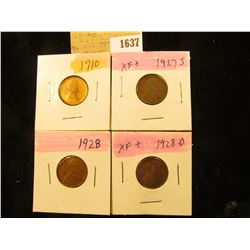 1637 _ 1910P, 27S, 28P & D Lincoln Cents, all Grading EF.