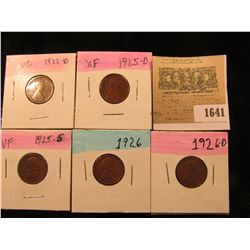 1641 _ 1922D, 25D, S, 26P & D  Lincoln Cents, VG to EF.