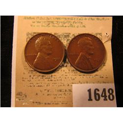 1648 _ Pair of 1931 P Lincoln Cents, both Brown Almost Uncirculated.