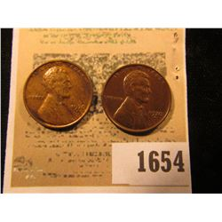 1654 _ Pair of 1930 D Lincoln Cents, both Brown AU to Unc.