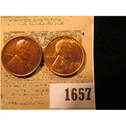 1657 _ Pair of 1929 D Lincoln Cents, one Brown AU and the other Bright Red BU.